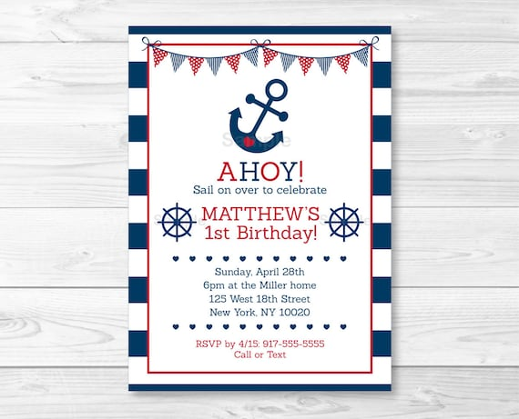 Cute Nautical Birthday Invitation Invite