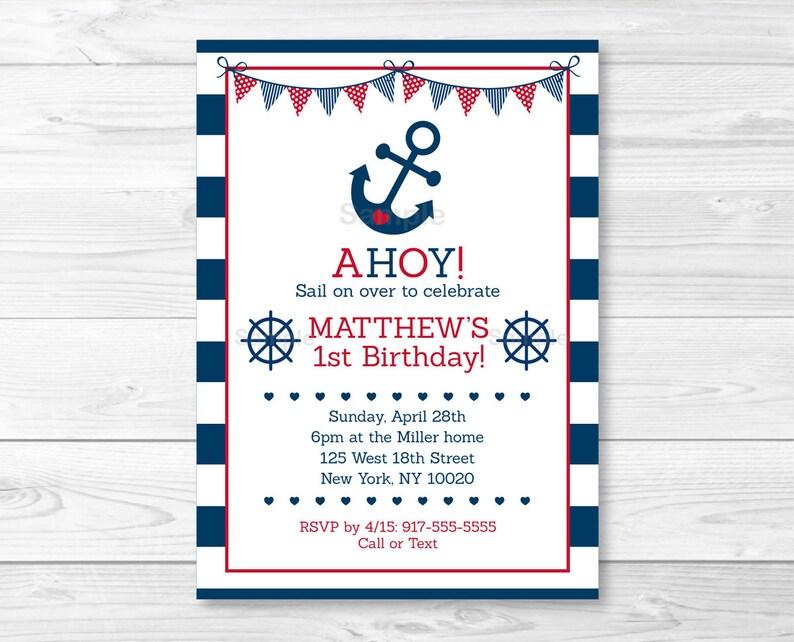 Cute Nautical Birthday Invitation Invite