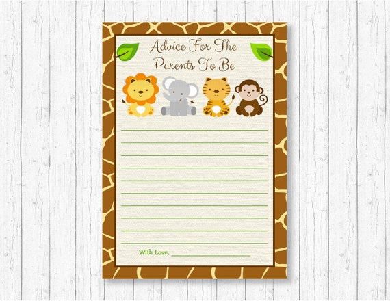 graphic regarding Mommy Advice Cards Printable known as Safari Animal Tips Playing cards / Safari Kid Shower / Jungle
