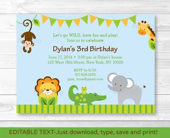 Cute Jungle Animal Birthday Invitation Invite Safari 1st INSTANT DOWNLOAD Editable PDF A375