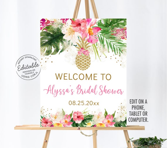 5 Pack Pink Tropical Acrylic Wedding Shower Sign