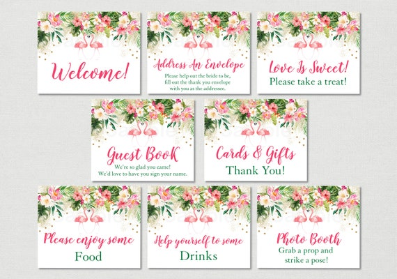 Tropical Flamingo Bridal Shower Signs Floral Bridal Shower