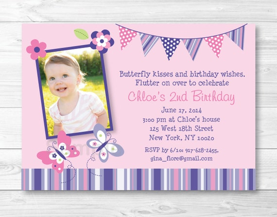 Pink Butterfly Birthday Invitation Invite Purple 1st 2nd Printable A248