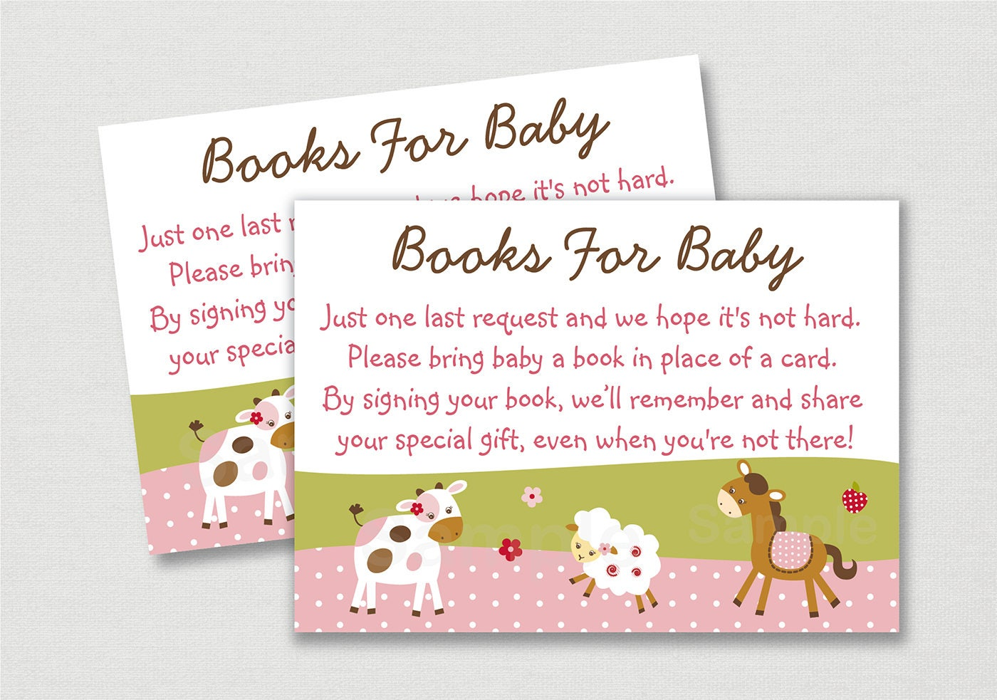 Pink Farm Animal Book Request Cards Farm Animal Baby Shower Etsy
