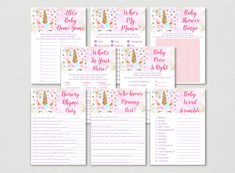 23d2de3b76bc0 Unicorn Baby Shower Games Package / Unicorn Baby Shower / Pink & Gold  Unicorn / Floral Unicorn / 8 Printable Games / INSTANT DOWNLOAD A450