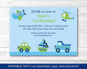 Transportation Vehicles Car Truck Sailboat Airplane Helicopter Birthday Invitation INSTANT DOWNLOAD Editable PDF A306