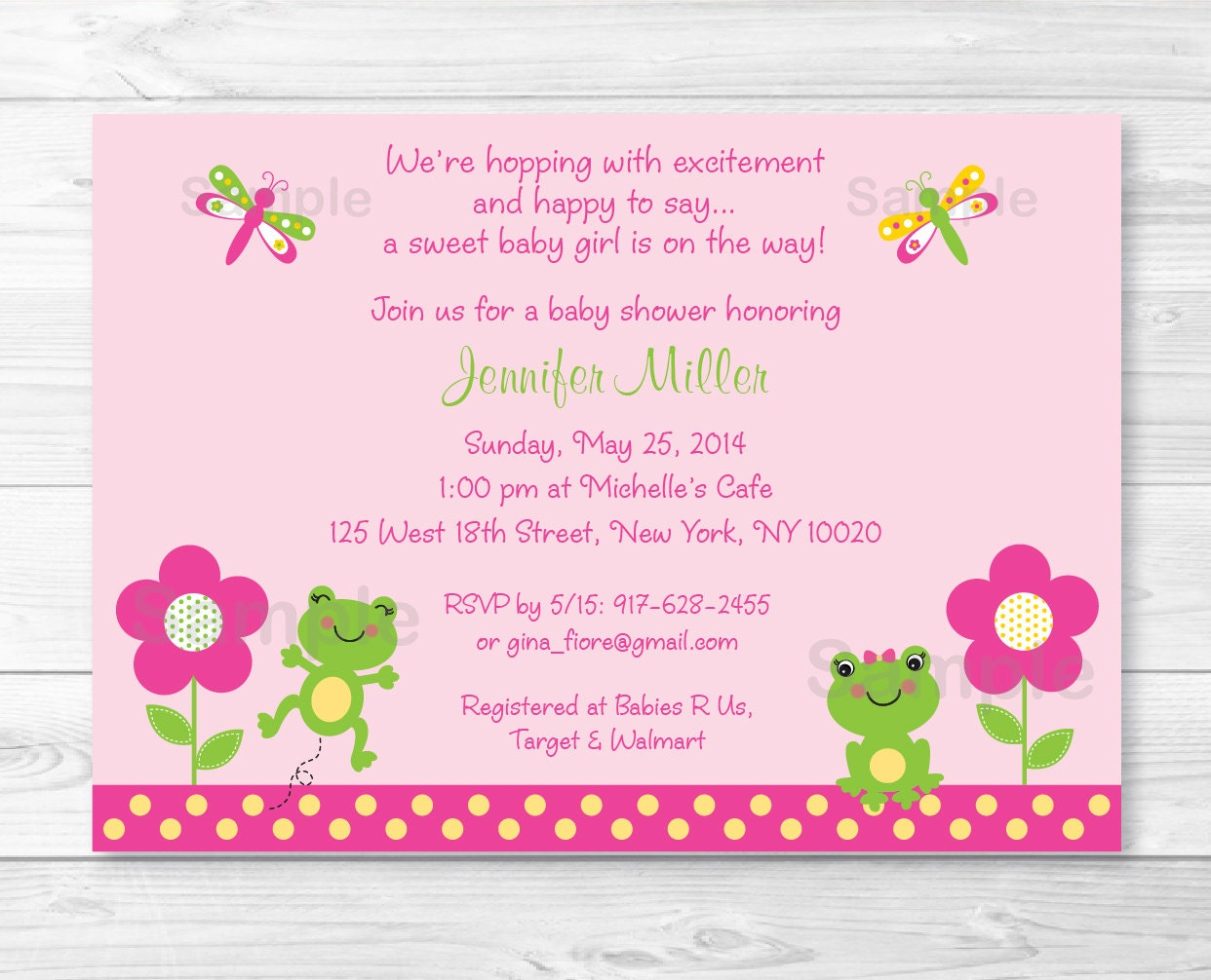 Cute pink frog baby shower invitation frog baby shower etsy zoom filmwisefo