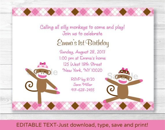 Pink Sock Monkey Birthday Invitation 1st 2nd Any Age INSTANT DOWNLOAD Editable PDF A331