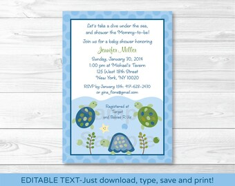 Turtle Baby Shower Invitation / Under The Sea Baby Shower / Turtle Reef / INSTANT DOWNLOAD Editable PDF A329