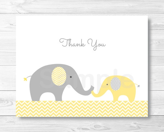 image relating to Chevron Stencil Printable identified as Elephant Thank By yourself Card / Elephant Youngster Shower / Chevron