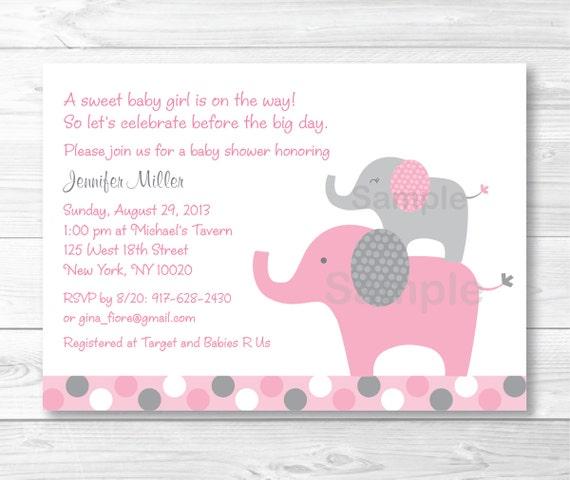 Pink elephant baby shower invitation elephant baby shower etsy image 0 filmwisefo