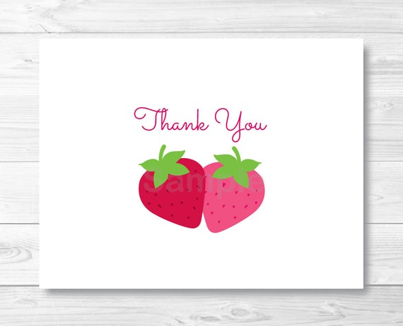 Cute Strawberry Thank You Card Strawberry Birthday Party Folded