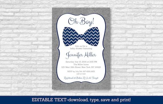 luxury bow tie baby shower invitation or 12 diy bow tie baby shower invitations