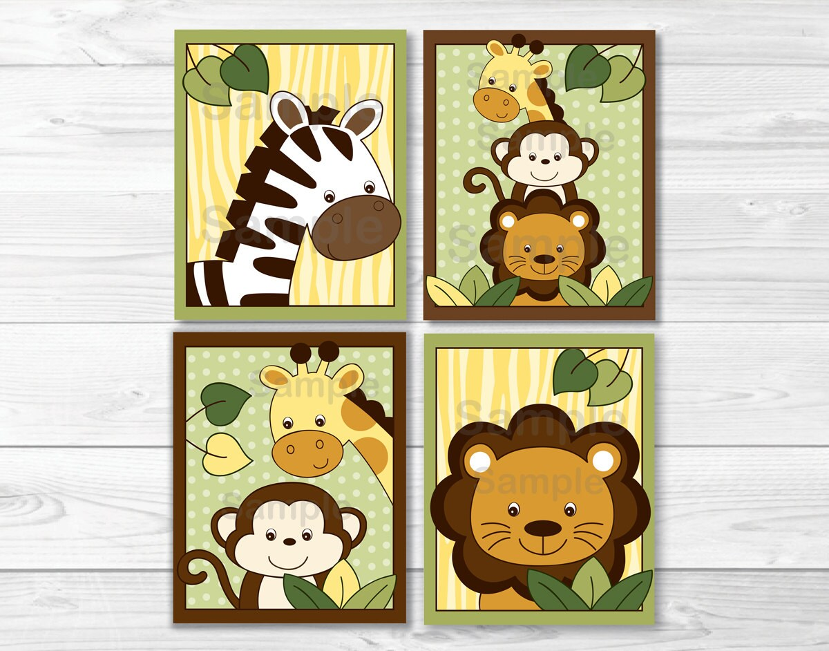 Safari Jungle Animal Nursery Wall Art PRINTABLE Instant | Etsy