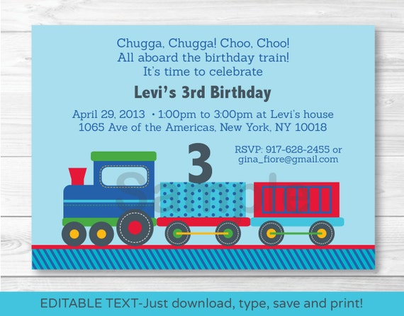 Choo Train Birthday Invitation Invite 1st 2nd Any Age INSTANT DOWNLOAD Editable PDF A252