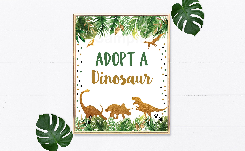 Adopt A Dinosaur Birthday Sign Dinosaur Birthday Party Gold Etsy