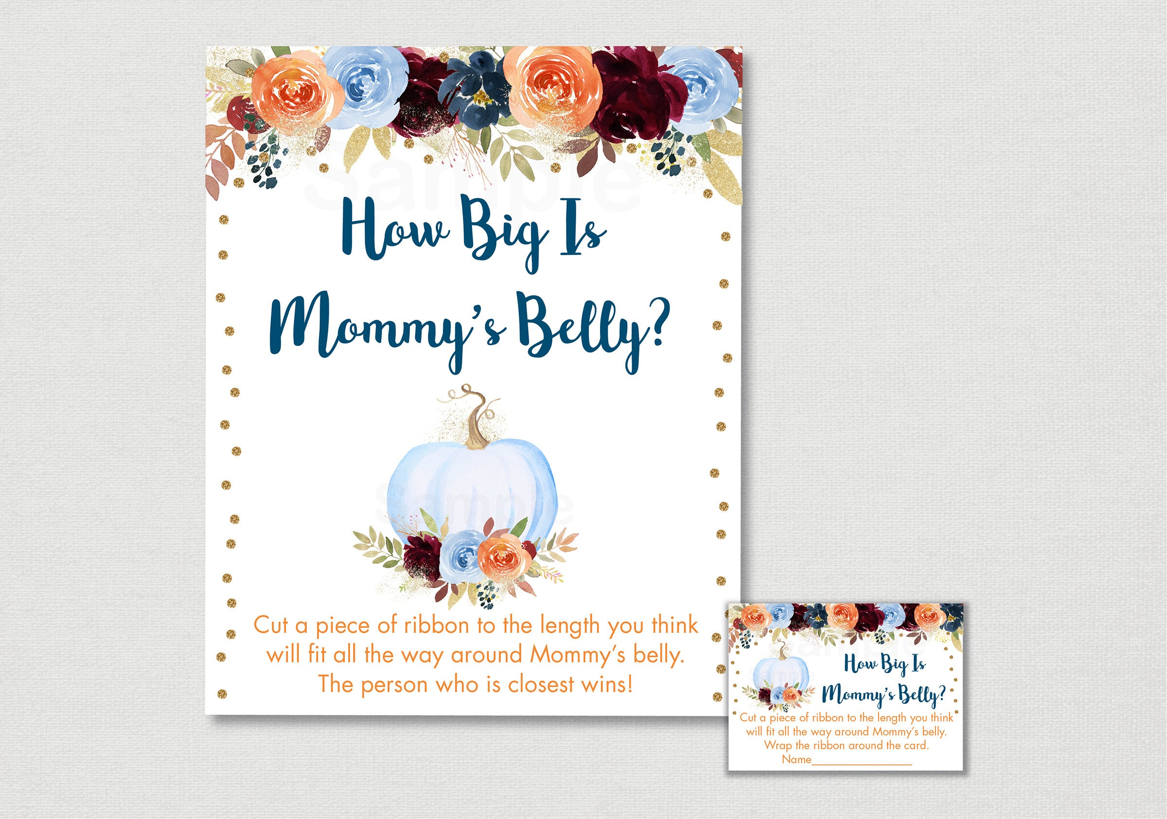 Blue Pumpkin Floral How Big Is Mommys Belly Game Etsy