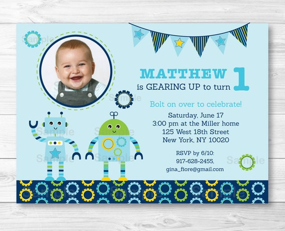 Robot Birthday Invitation Invite Baby Bots 1st 2nd Any Age Boy PRINTABLE A426