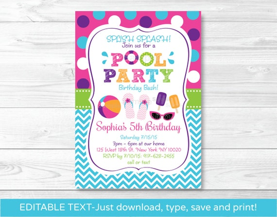 girls pool party invitation pool party invitation pool etsy
