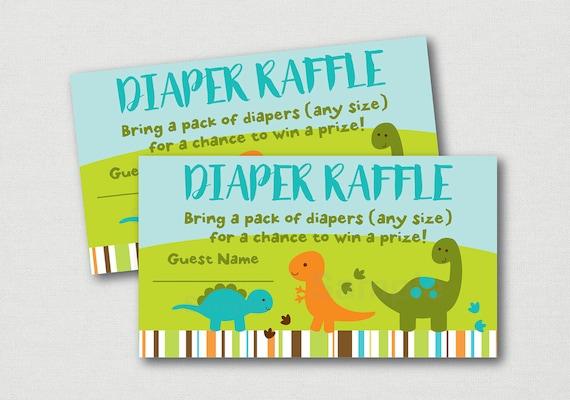 Dinosaur Diaper Raffle Tickets Dinosaur Baby Shower Green And Blue