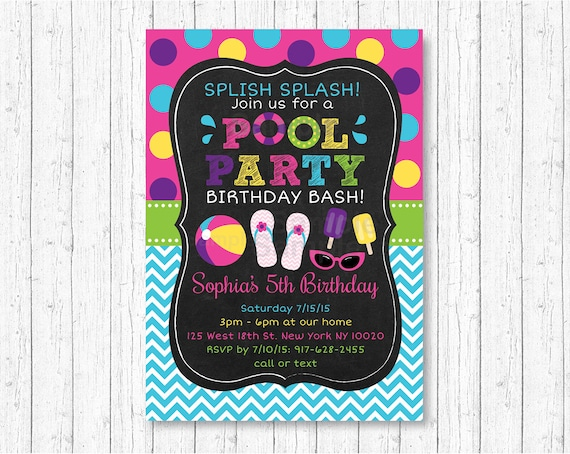 Pool Party Invitation Invite Girls Chalkboard Summer Birthday 1st Any Age PRINTABLE A406
