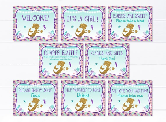 Mermaid Baby Shower Signs Under The Sea Baby Shower Teal Etsy