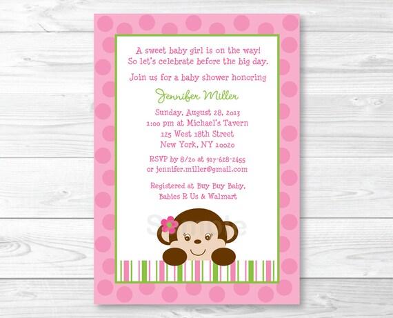 Cute Pink Monkey Baby Shower Invitation Monkey Baby Shower Etsy