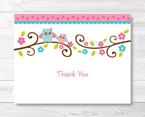 Pink Owl Thank You Card / Folded Card Template / Owl Baby ...