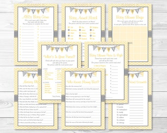 Chevron Baby Shower Games Package / Chevron Pattern / Yellow & Grey / Gender Neutral / 8 Printable Games / Printable INSTANT DOWNLOAD A208