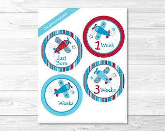 Airplane Monthly Milestone Stickers / Monthly Milestones / Onesie Stickers / Iron Ons / Baby Shower Gift / Printable INSTANT DOWNLOAD A416