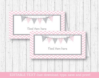 Pink Chevron Food Tent Cards / Food Labels / Place Cards / Pink & Grey / Baby Girl Shower / INSTANT DOWNLOAD Editable PDF A201