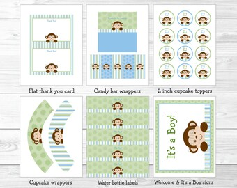 Monkey Baby Shower Party Package / Monkey Baby Shower Decorations / Monkey Baby Shower / Baby Blue & Green / Boy / INSTANT DOWNLOAD A414