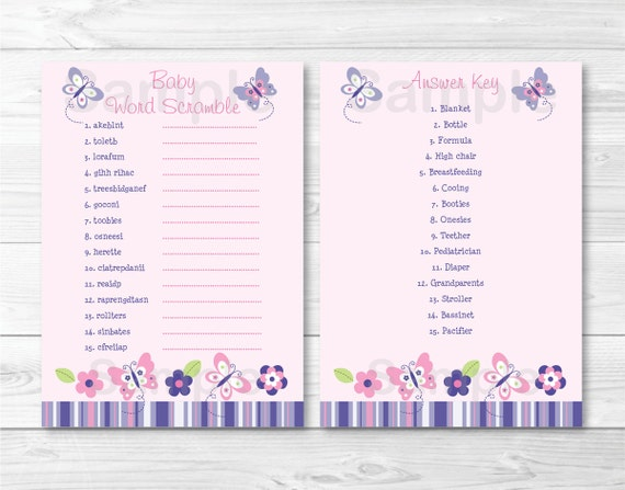Cute Pink Butterfly Baby Shower Word Scramble Butterfly Fly Etsy