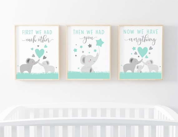 Set Of 3 Prints Elephant Wall Art Elephant Nursery Wall Art First We Had Each Other Nursery Quote Gender Neutral Boy Girl Digital Printable By Little Prints Inc Catch My Party