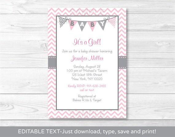 Cute pink chevron baby shower invitation chevron baby shower etsy image 0 filmwisefo
