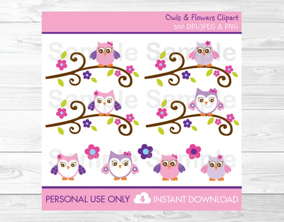 Cute Pink Owl Clipart Owl Baby Shower Owl Birthday Pink Etsy