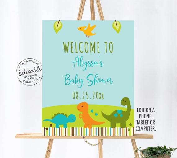 Instant Download Print today! Editable Dinosaur Welcome Sign Birthday Party Welcome Sign Girl Dinosaurs Welcome Sign Printable Template