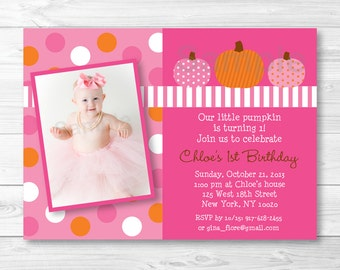 Cute Pink Pumpkin Birthday Invitation / Pumpkin Birthday Invite / Fall Birthday / Pink & Orange / Any Age / PRINTABLE A261