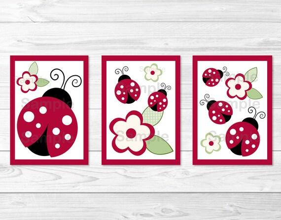 Cute Ladybug Nursery Wall Art / Ladybug Nursery Wall Art / | Etsy