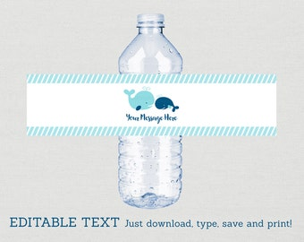 Cute Whale Water Bottle Labels / Whale Baby Shower / Nautical Baby Shower / Navy & Aqua / Printable INSTANT DOWNLOAD Editable PDF A160
