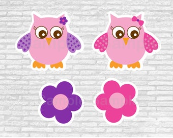 Pink & Purple Owl Baby Shower Cut Outs / Owl Baby Shower / Printable INSTANT DOWNLOAD A343