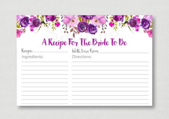 purple floral bridal shower recipe cards floral bridal