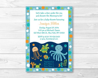 Under The Sea Baby Shower Invitation / Under The Sea Baby Shower Invite / Sea Animals / Baby Boy / PRINTABLE A279