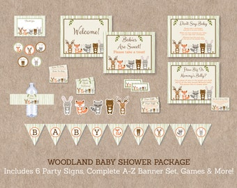 Woodland Animal Baby Shower Party Package / Woodland Baby Shower / Baby Shower Decorations / Gender Neutral / INSTANT DOWNLOAD A187