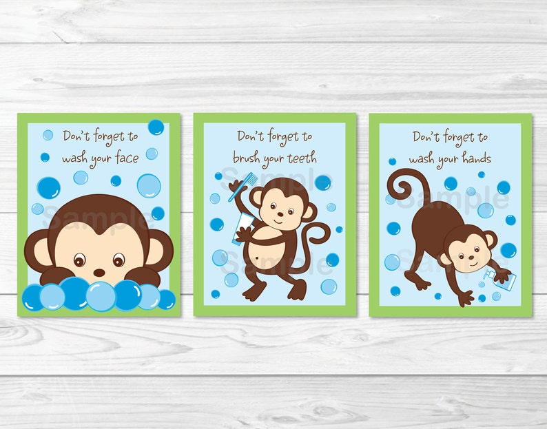 Awe Inspiring Monkey Bathroom Wall Art Kids Bathroom Wall Art Wash Your Hands Brush Your Teeth Monkey Wall Art Printable Instant Download Interior Design Ideas Lukepblogthenellocom