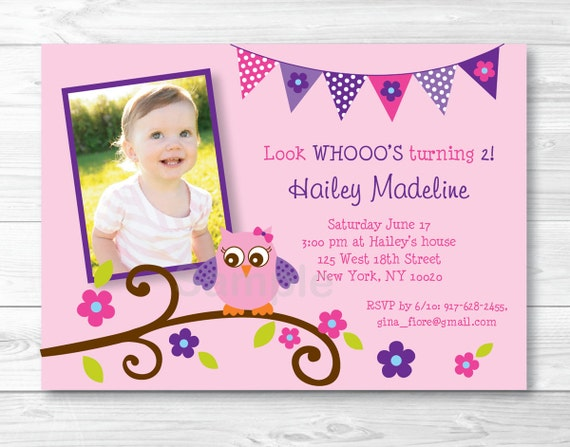 Pink Owl Birthday Invitation Invite