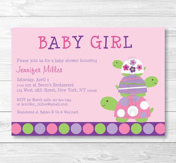 Cute pink turtle baby shower invitation turtle baby shower etsy image 0 filmwisefo