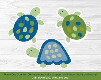 Turtle Baby Shower Cut Outs / Turtle Baby Shower / Baby Shower Decor / Turtle Reef / Sea Turtle / Printable INSTANT DOWNLOAD A329