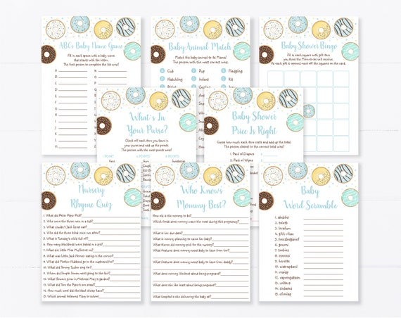 donut baby shower decorations donuts baby bingo donut games gender reveal games donut baby shower games donuts Baby shower games bundle
