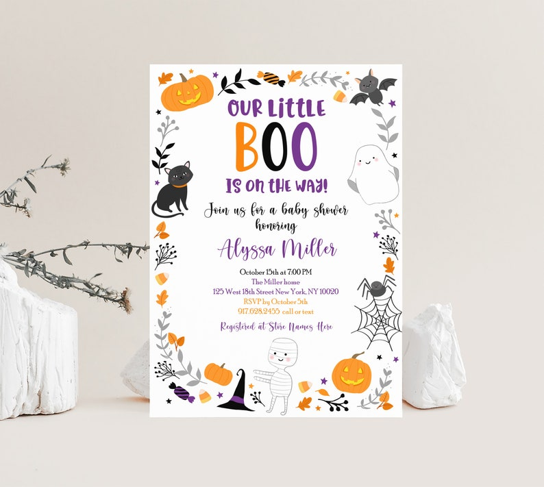 Editable Halloween Baby Shower Invitation Our Little Boo Gender Neutral Fall Autumn Pumpkin Ghost Printable Digital Instant Download A572